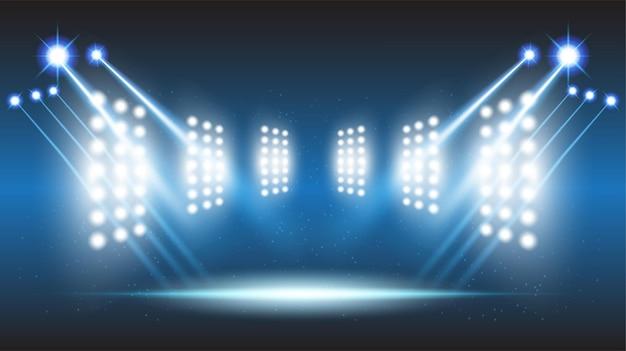 Salão de palco de estádio abstrato com luzes cênicas de tecnologia futurista redonda Vetor Premium