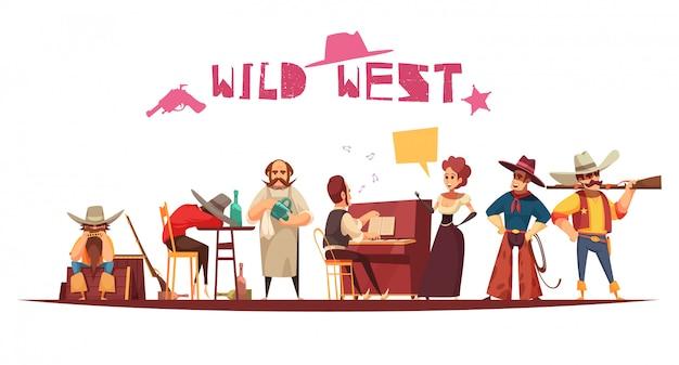 Salão do oeste selvagem em estilo cartoon com personagens Vetor grátis