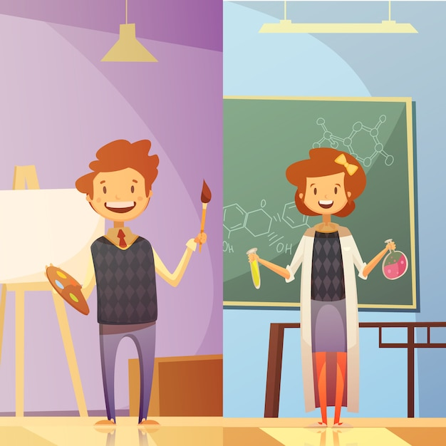 Salas de aula de escola primária e média com crianças sorridentes 2 bandeiras de educação de estilo vertical dos desenhos animados Vetor grátis