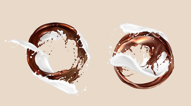 Salpicos de café e leite, mistura de chocolate e laticínios, torrentes redemoinhos. líquidos marrons brancos rodam com respingos de gotas, molduras, elemento dinâmico Vetor grátis