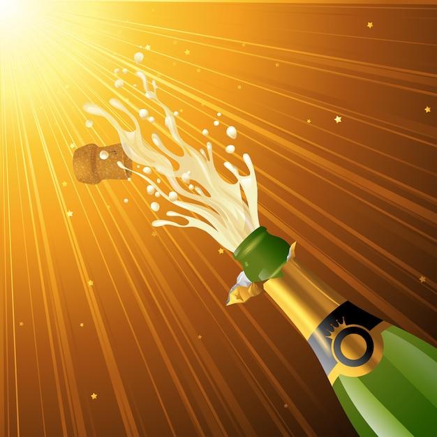 Salpicos de champanhe Vetor Premium