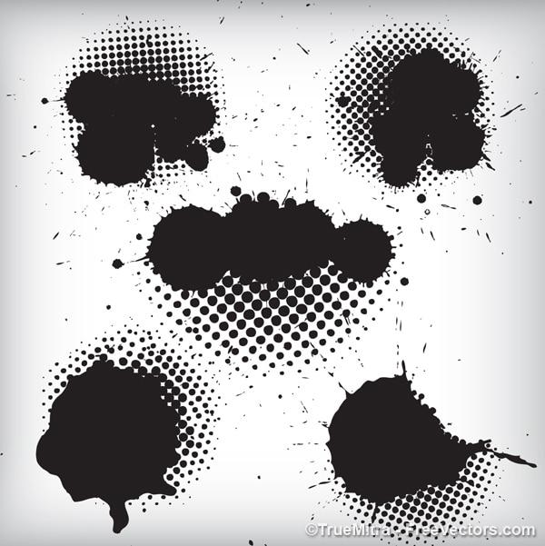 Salpicos de tinta preta de fundo Vetor grátis