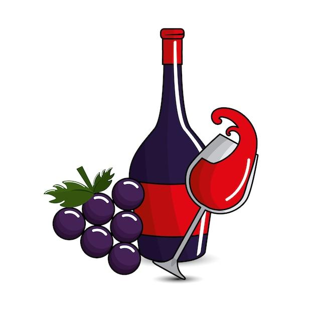 Salpicos de vidro e garrafas de vinho e uva ícone Vetor Premium