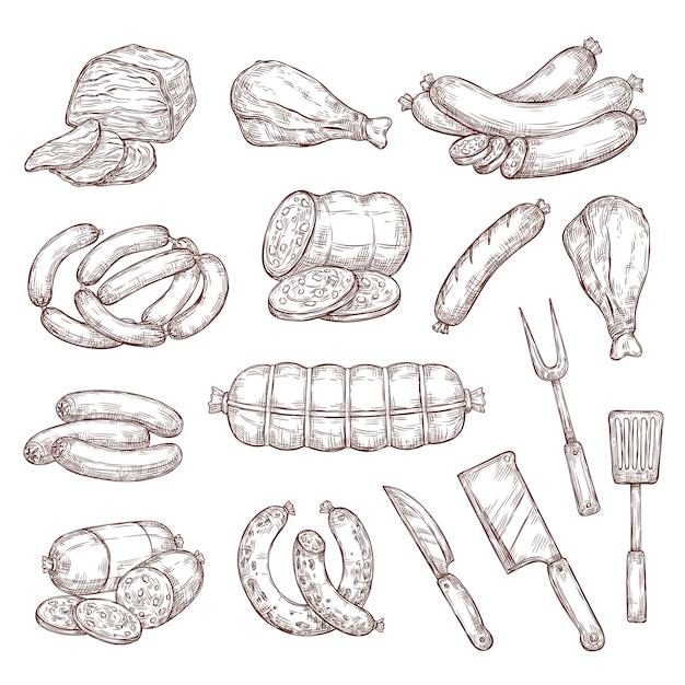 Salsichas de carne, presunto, salame e faca de açougueiro Vetor Premium