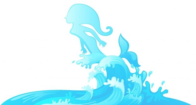Saltando sereia fora da água Vetor Premium