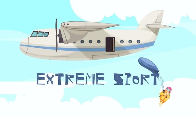 Salto de esporte de paraquedismo extremo de publicidade plana de avião com estágio de queda livre de avião Vetor grátis