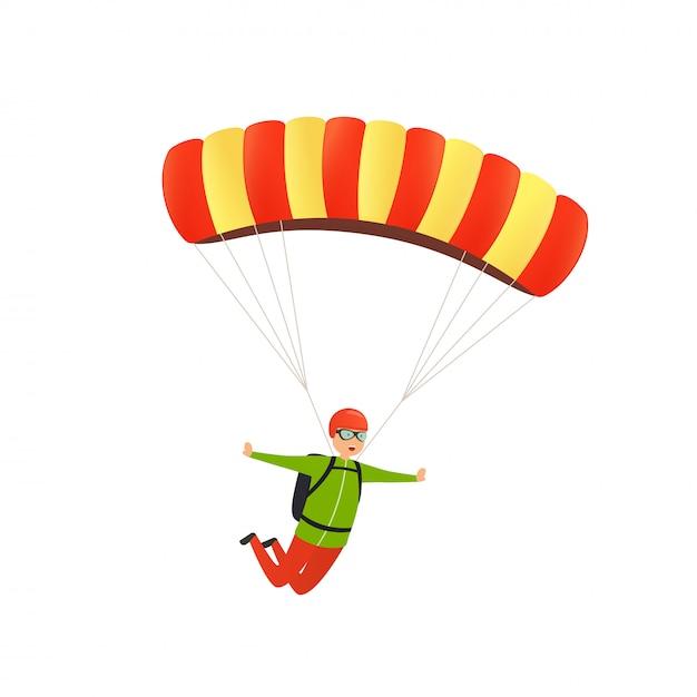 Salto de pára-quedas. feliz paraquedista desce com um pára-quedas no céu. conceito de atividade esportiva, lazer na natureza no ar. Vetor Premium