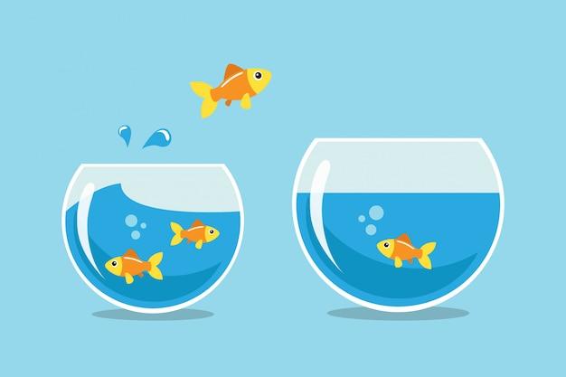 Salto de peixe dourado Vetor Premium