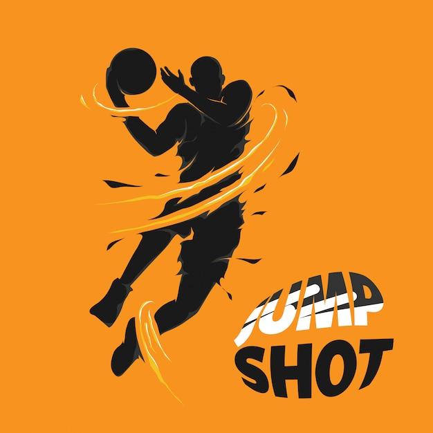 Salto e tiro silhueta de jogador de basquete Vetor Premium