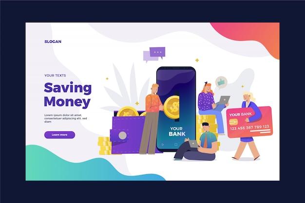 Salvando a página de destino do dinheiro Vetor grátis
