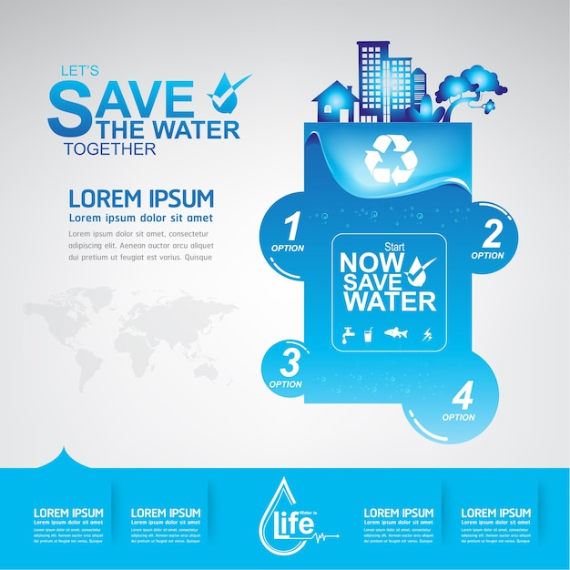 Salvar a água vector a vida é a vida Vetor Premium