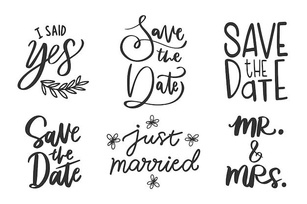 Salvar a data casamento letras Vetor grátis