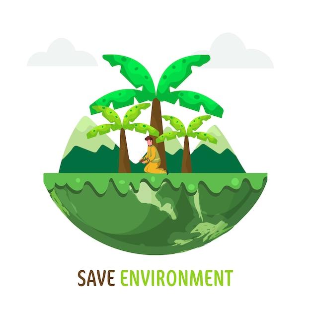 Salvar a ilustração do conceito de ambiente Vetor Premium