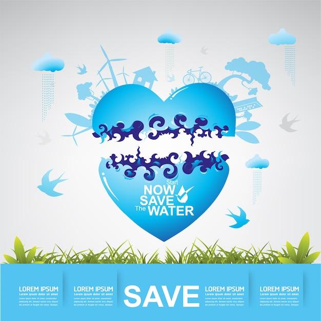 Salvar a vida do conceito da água Vetor Premium