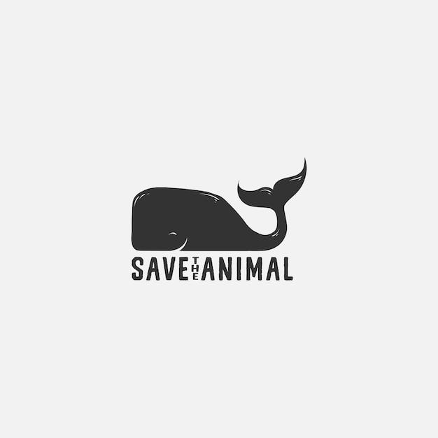 Salvar baleia animal logo ilustração Vetor Premium