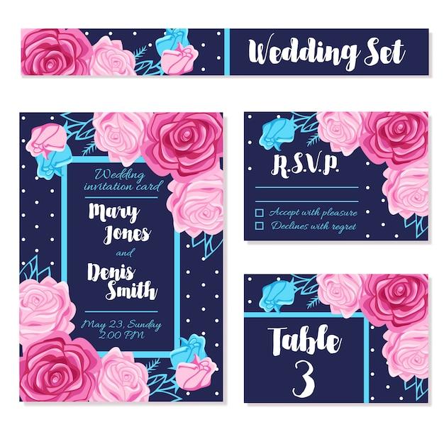 Salvar convites da data do casamento cartoes Vetor grátis