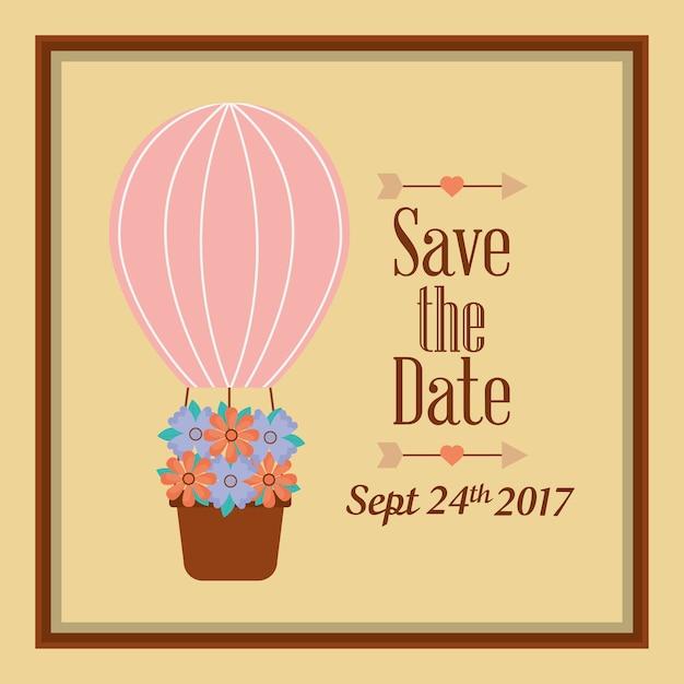 Salvar o cartão da celebração das flores do airballoon da data Vetor Premium