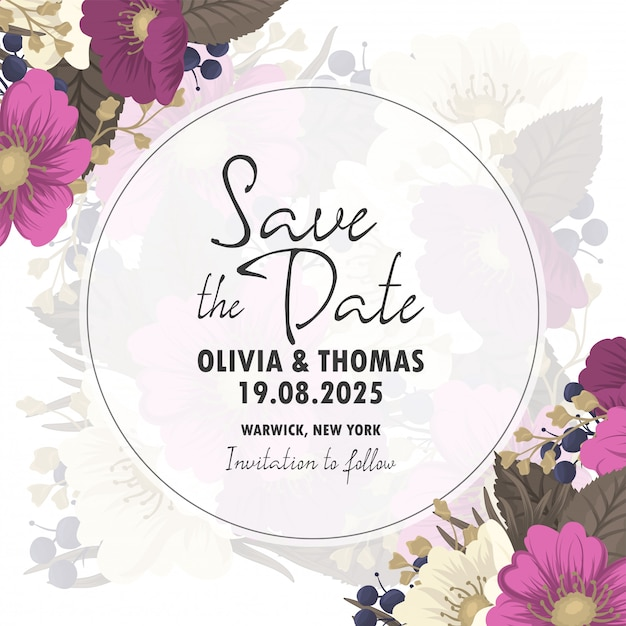 Salvar o cartão de data com flores Vetor grátis