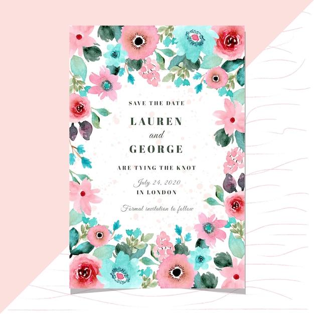 Salvar o cartão de data com quadro de aquarela floral rosa hortelã. Vetor Premium