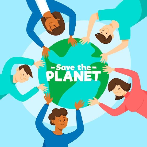 Salvar o conceito de planeta com pessoas segurando o globo Vetor grátis