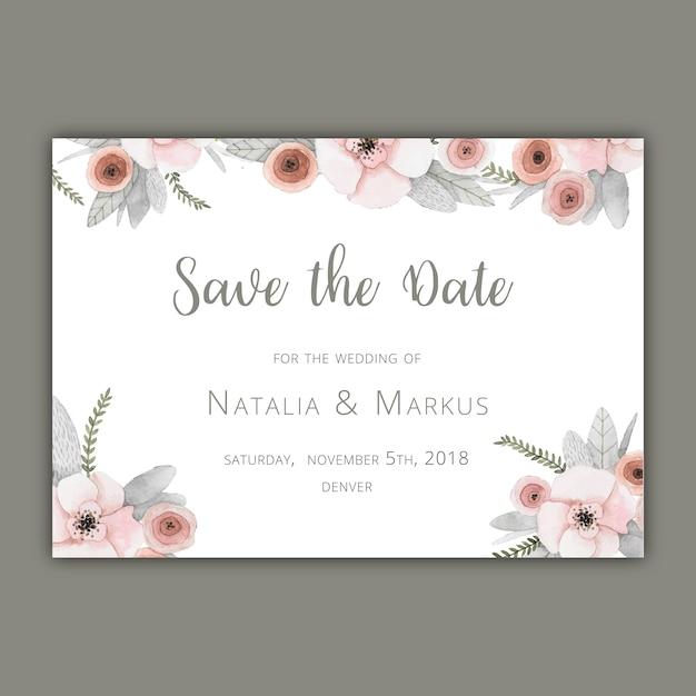 Salvar o molde do cartão de data com florals pastel Vetor grátis