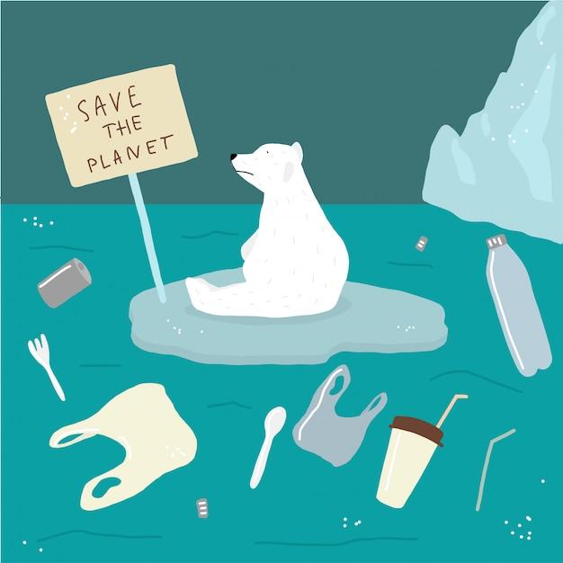 Salvar ursos brancos e oceano do lixo Vetor Premium