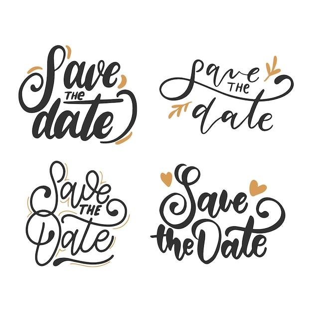 Salve a coleção de caligrafia de data Vetor grátis