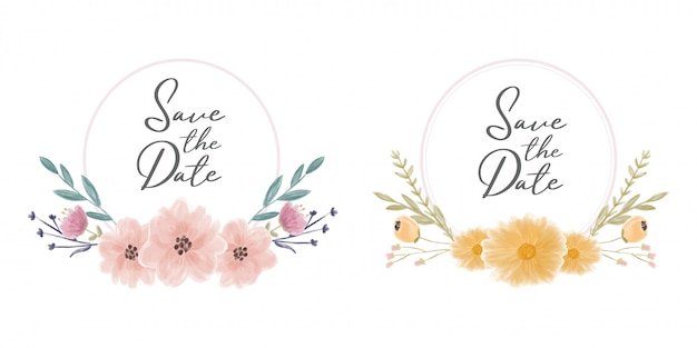 Salve a coroa de moldura de data com flores em aquarela Vetor Premium