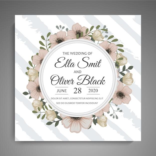 Salve a data, cartão de convite de casamento com modelo de flor de grinalda Vetor grátis