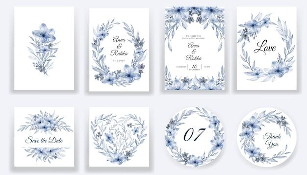 Salve a data, cartões azuis em aquarela floral e coleção de convites Vetor grátis