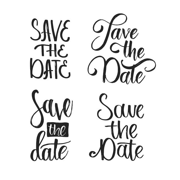 Salve a data coleção de letras de casamento Vetor grátis