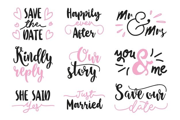 Salve a data lettering coleção Vetor grátis