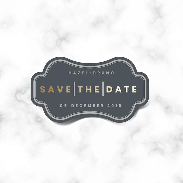 Salve a data vetor de adesivo de convite de casamento Vetor grátis