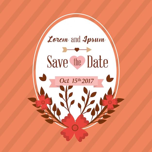 Salve o cartão de data casamento com decoração floral Vetor grátis