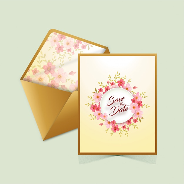 Salve o cartão de data com envelope Vetor Premium
