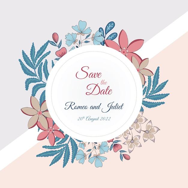 Salve o cartão de data com estilo floral Vetor Premium