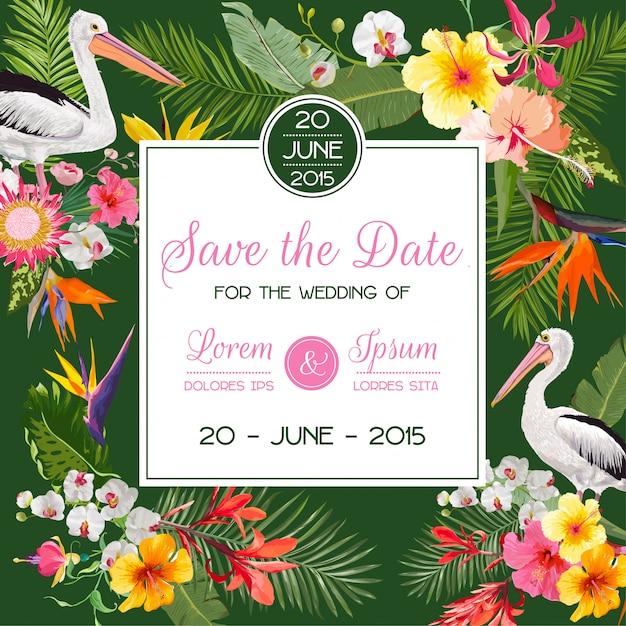 Salve o cartão de data com flores e pássaros Vetor Premium