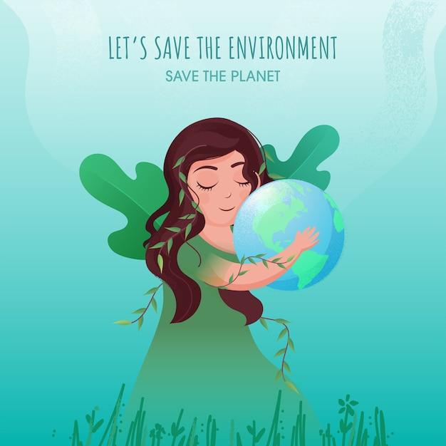 Salve o conceito de meio ambiente e planeta com jovem segurando o globo da terra e folhas verdes sobre fundo turquesa. Vetor Premium
