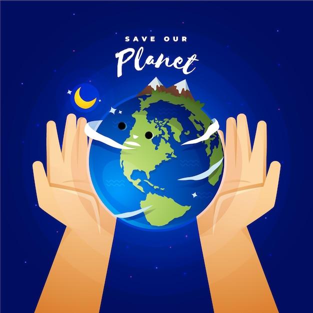 Salve o conceito de planeta com as mãos segurando a terra Vetor grátis