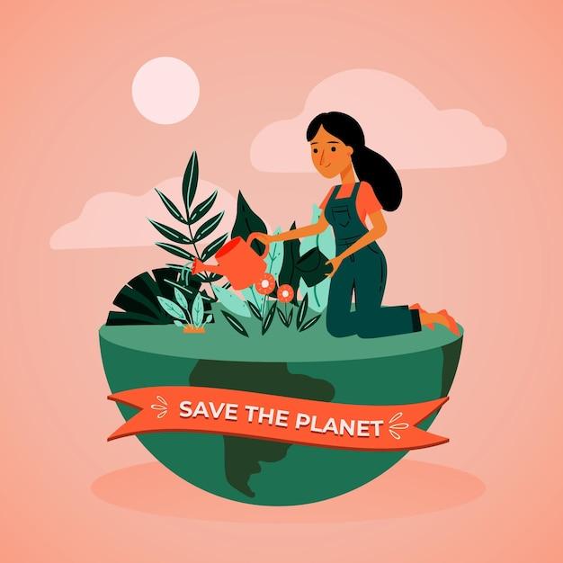 Salve o conceito de planeta com mulher e terra Vetor grátis