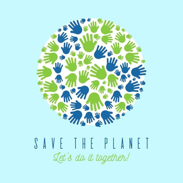 Salve o conceito de planeta com palm print como terra Vetor grátis