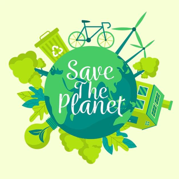 Salve o conceito de planeta com reciclagem Vetor grátis