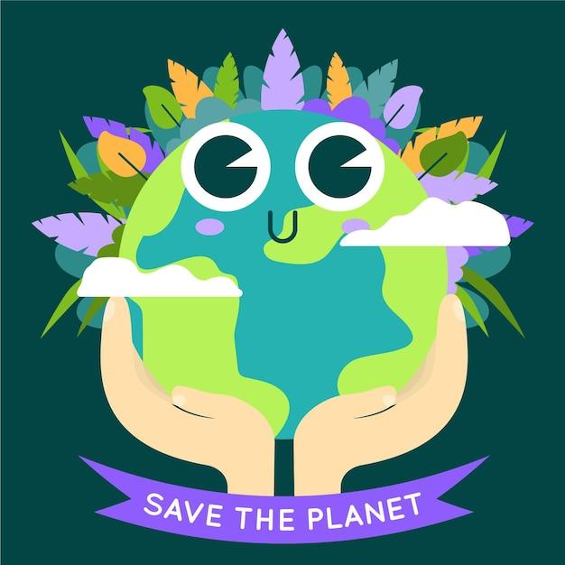 Salve o conceito de planeta com terra bonitinha Vetor grátis