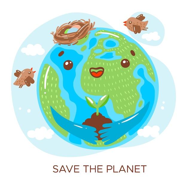 Salve o conceito do planeta Vetor grátis