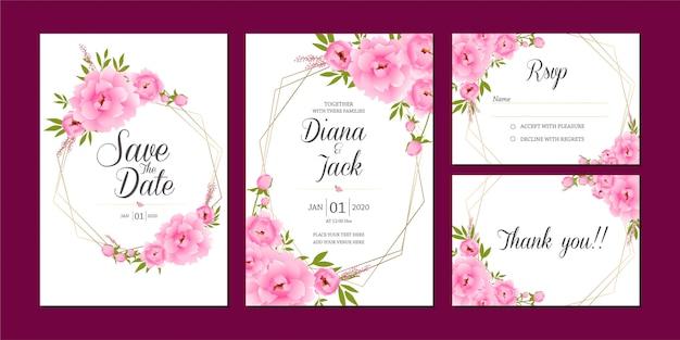 Salve o conjunto floral rosa de data, modelo de cartão de convite de casamento Vetor Premium