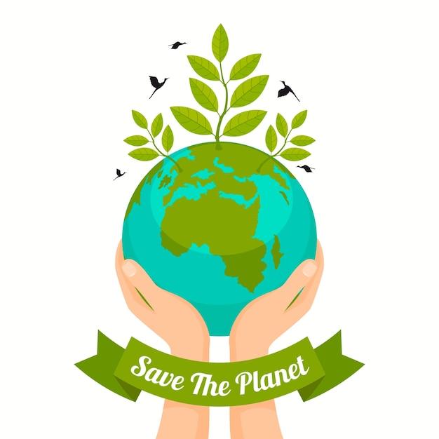Salve o design do planeta Vetor grátis