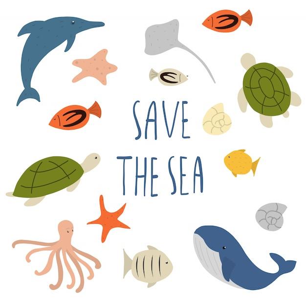 Salve o mar e animais marinhos Vetor Premium