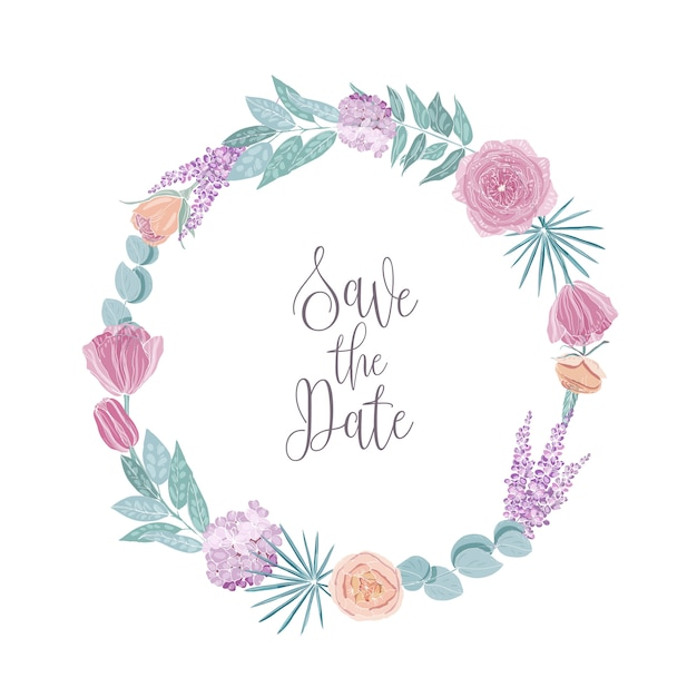 Salve o modelo de cartão de data decorado com moldura redonda, borda ou grinalda feita de flores e folhas. Vetor Premium