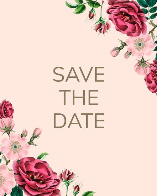 Salve o modelo de convite de casamento de data Vetor grátis