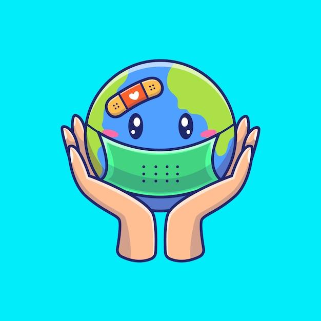 Salve o mundo da ilustração de vírus. personagem de desenho animado de mascote de corona. conceito do mundo isolado Vetor Premium
